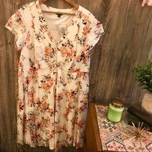 {torrid} ivory blush pink floral printed dress 1x